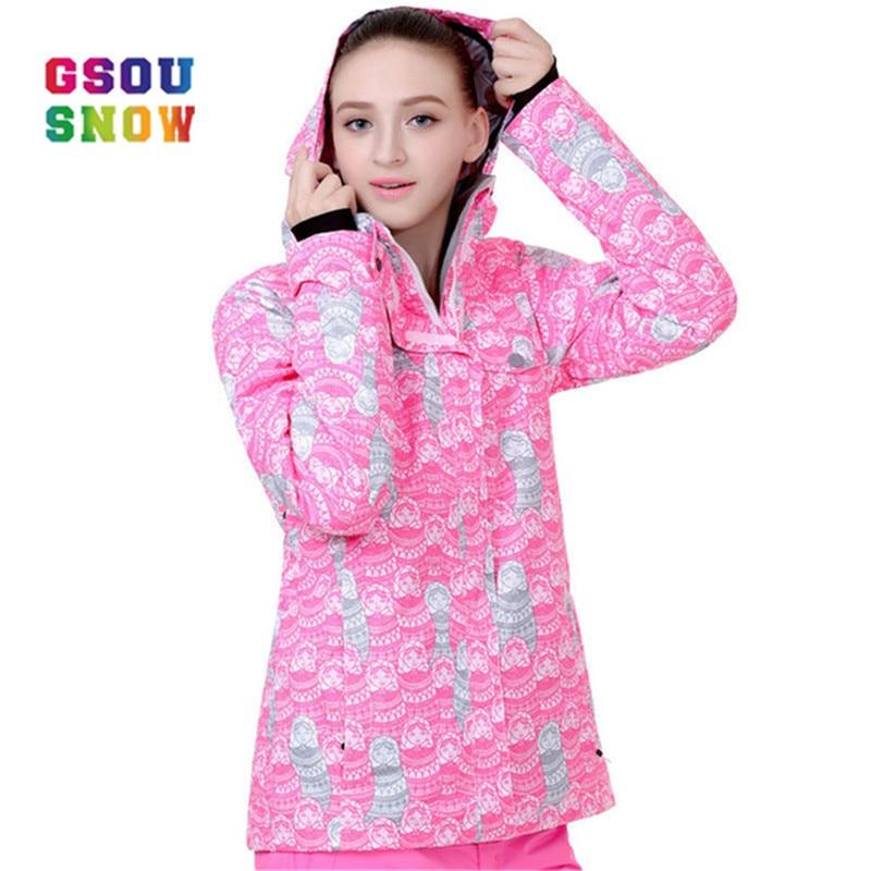все цены на GSOU SNOW Ski Jacket Women Outdoor Windproof Snowboard Coats Waterproof Anti-wrinkle -30 Degree Female Ski Jackets clothes онлайн