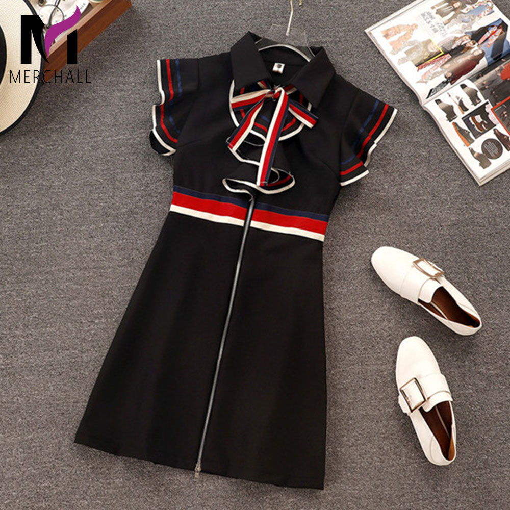 New 2019 Summer Runway Designer Women Retro Butterfly Sleeveless Bow Tie Collar Ruffles Weave Striped Zipper Up Mini Dress