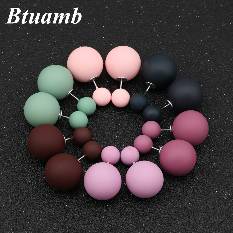 Btuamb New Maxi Double Sides Big Ball Pearl Earrings Simple Style Candy Color Rubber Stud Earrings For Women Accessories Bijoux