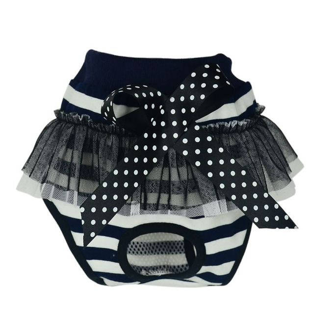 Striped Bow Panty Pant Pet Underwear Pet Diaper Dog Puppy Diaper Pants Bow Short Panty Nappy Underwear