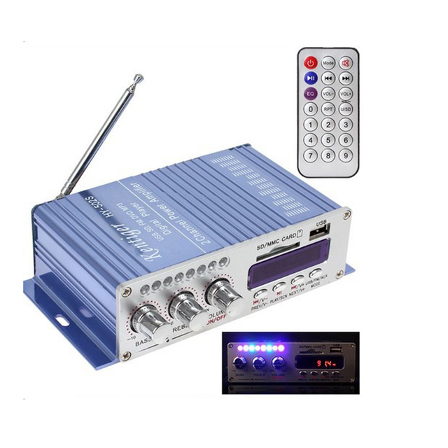 Best Offers Newest HY-502 2CH Hi-Fi Digital Motorcycle Auto Car Stereo Power Amplifier with Remote Control for Mobile Phone MP3 MP4 PC TF