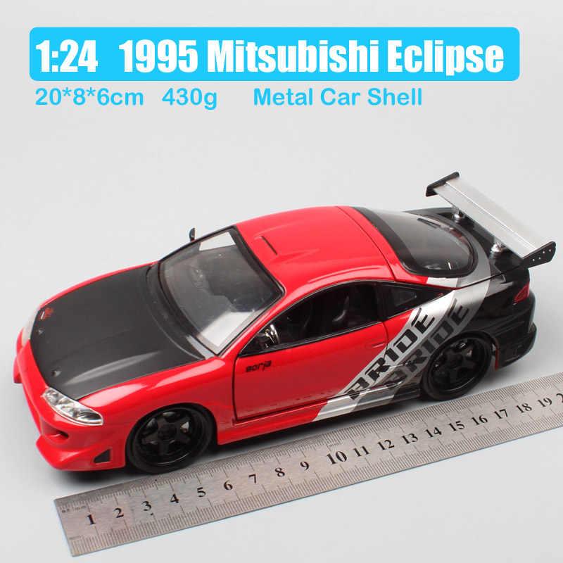 Coche de carreras de metal para niños, Escala de modelos de coches deportivos Mitsubishi Eclipse bride, 1/24, Jada 1995, juguetes en miniatura para niños