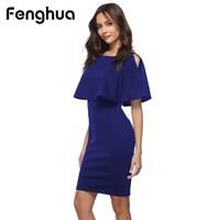 Fenghua 2018 Fashion Women Dress Summer Elegant Solid Off Shoulder Dress Sexy Slim Evening Party Pencil
