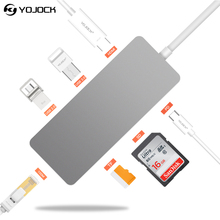 Yojock 7 in1 USB-C USB Adapter with Power Delivery HDMI SD TF Card Reader Ethernet for MacBook Laptop USB 3.0 Type C Adapter