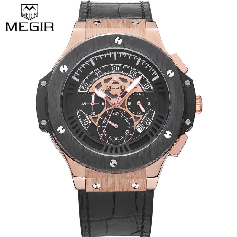 Prix pour 2017 MEGIR Montres Hommes Marque De Luxe Grand Cadran Quartz Montre-Bracelet Mâle Sport de L'armée Militaire Montres Or Chronographe Horloge homme