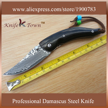 DS092 mini edc damascus steel knife ox horn handle pocket knife utility knife faca Camping Knife faca de bolso