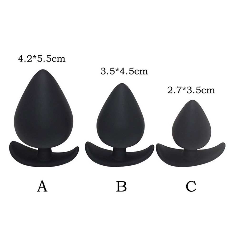 3Pcs anal sex toy butt plug black silicone set buttplug adult product u71227