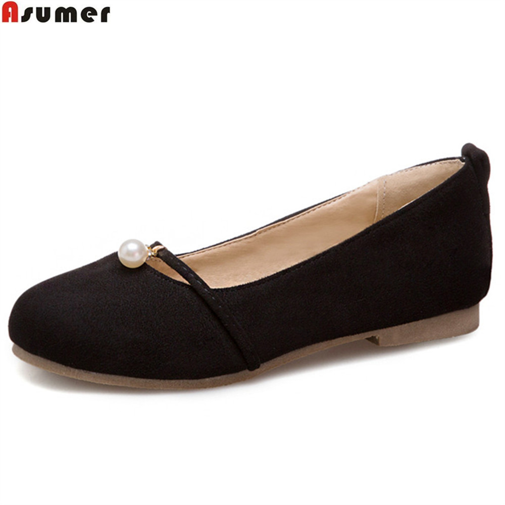 Rotondi Asumer Primavera Beige Rosa Nero 34 Nero 43 Ladies Moda Flat Single Autunno Rosa Shoes Size Casual Big Shape Donna Shallow WqqSURvg