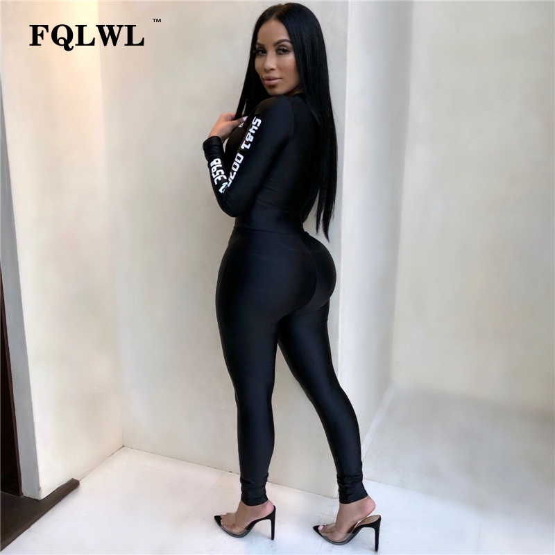 e58e71ea01 FQLWL Long Sleeve Black Bodycon Female Jumpsuit For Women Playsuit Letter  Print Zipper Skinny Rompers Womens Jumpsuit Overalls-in Jumpsuits from  Women s ...