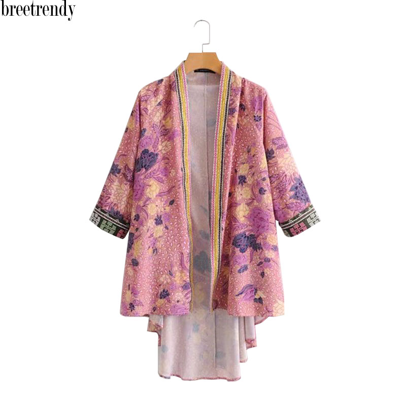 Women's Clothing Jackets & Coats Hot Sale Djf48-8222 European And American Fashion Orientation Printed Long Kimono