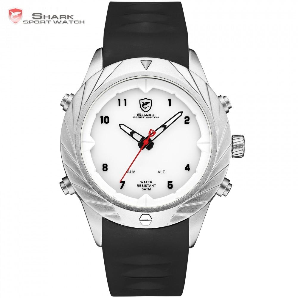 Top marque de luxe requin Sport nouvelle conception montre pour hommes montres d'alarme bande de silicone reloj hombre LED montres robe numérique/SH580