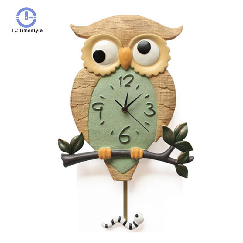 Horloge murale dessin animé mignon hibou décoration horloges murales silencieuses accessoires de décoration de la maison montres suspendues modernes