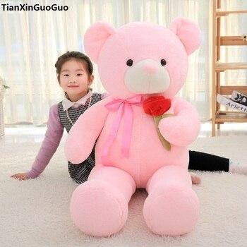 stuffed toy huge 135cm pink teddy bear plush toy rose flower design cute bear soft doll hugging pillow birthday gift s0916