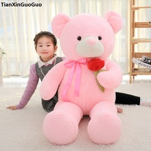 stuffed toy huge 135cm pink teddy bear plush toy rose flower design cute bear soft doll hugging pillow birthday gift s0916