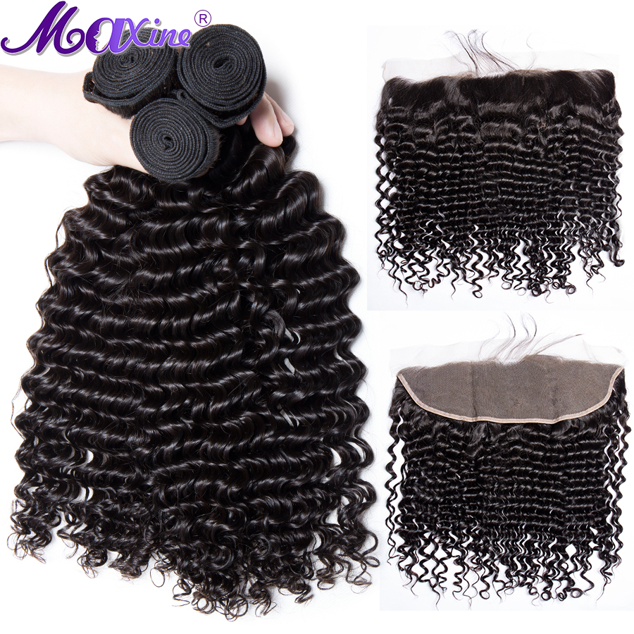 Maxine Deep Wave Human Hair 3 Bundles With Frontal Closure Brazilian Remy Hair Pre Plucked Lace