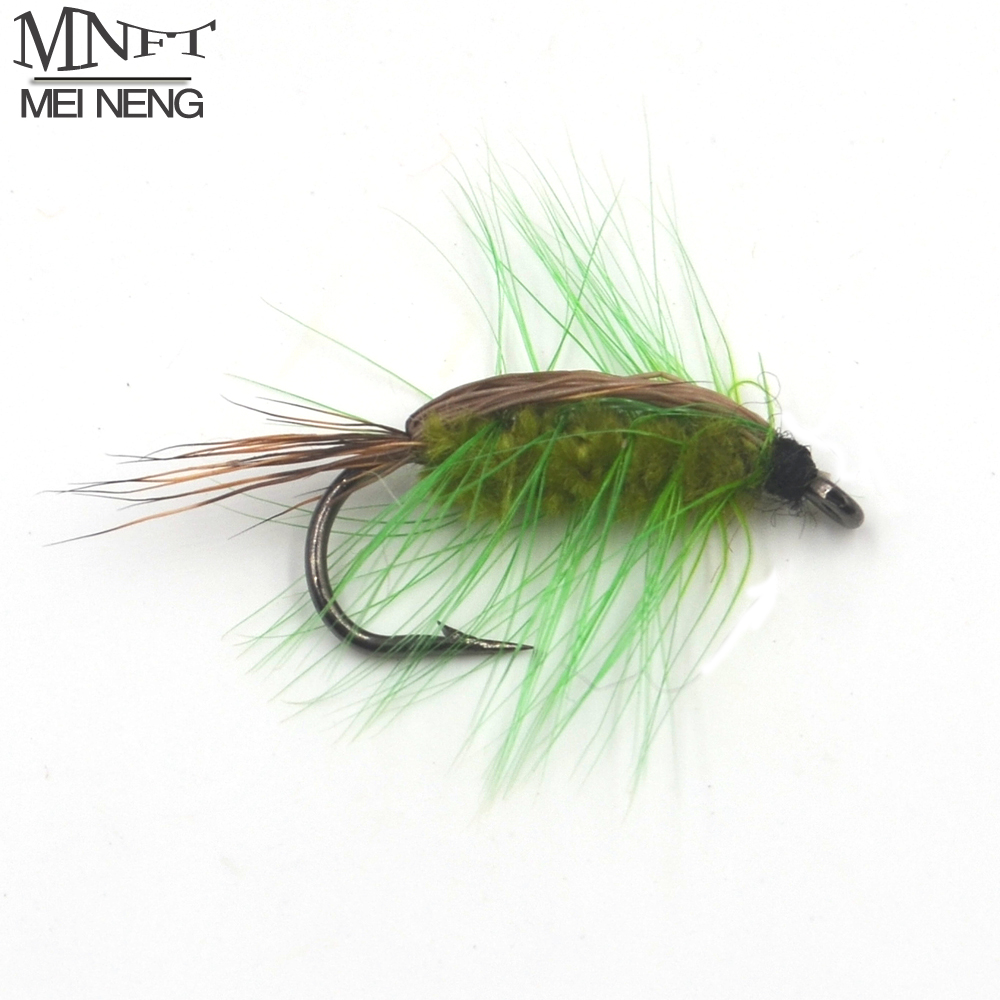 MNFT 10pcs/pack 6# Dry Fly Caddis Trout Fishing Flies Wooly Worm Green Body Fly Fishing Bait 10pcs beadhead pm caddis 14 nymphs dry fly fishing trout flies