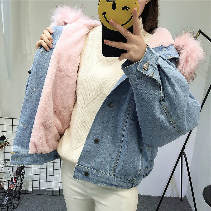 HTB1nSpbGYGYBuNjy0Foq6AiBFXaD Elexs velvet thick denim jacket female winter big fur collar Korean locomotive lamb coat female student short coat 72510