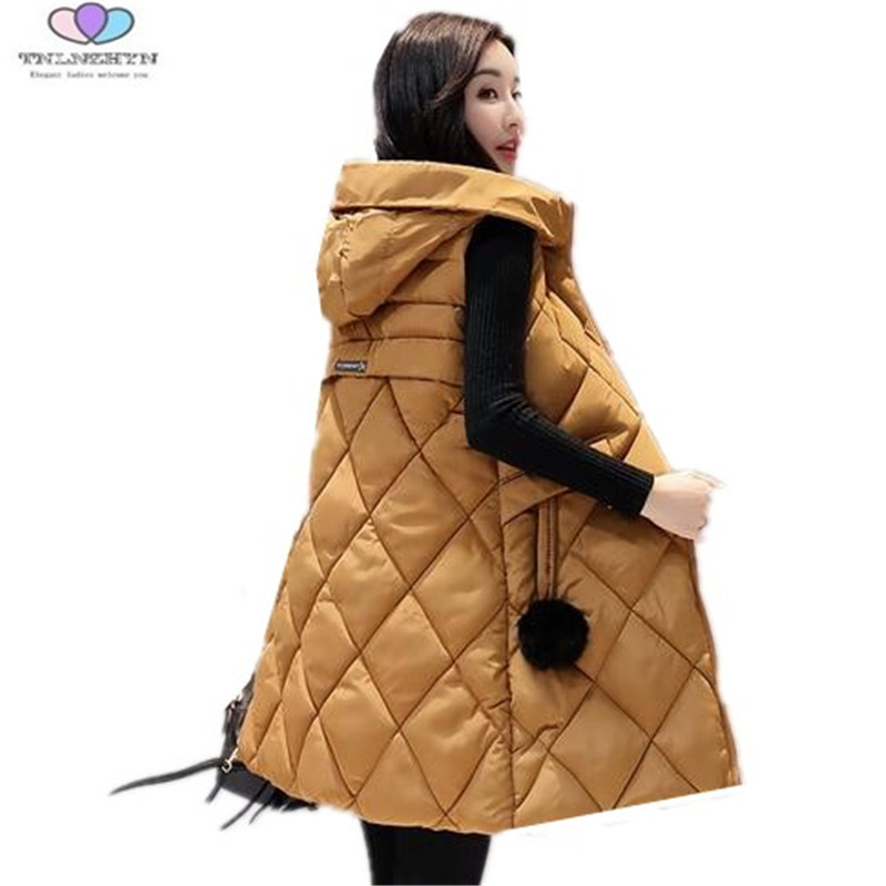 Plus Size 4XL Women Down Cotton Vests 2017 New Medium Long Thick Warm Vest Casual Slim Hooded Outerwear Waistcoats TNLNZHYN E112
