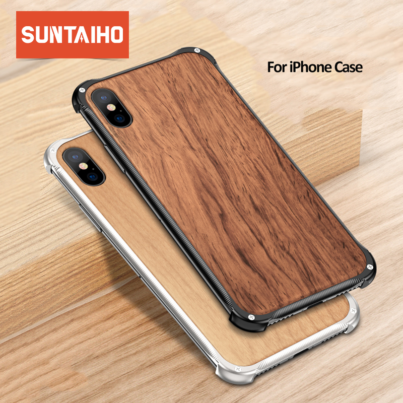 Suntaiho Wood Case for iPhone X Phone Case for iPhone 7 Wood Grain TPU Anti-knock Case for iPhone 8 6 6S Plus