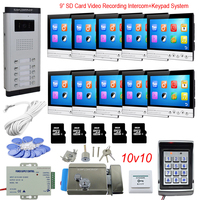 Access Control Keyboard System 10 Apartments Doorphone Video Intercom With Lock 9 Color 8GB SD Card Recording Doorbell Camera