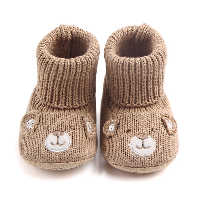 Baby Girls Cute Cartoon Bear Boots Winter Warm Baby Shoes Boys Kids First Walkers Knitted Super Warm Soft Soled Booty Booties