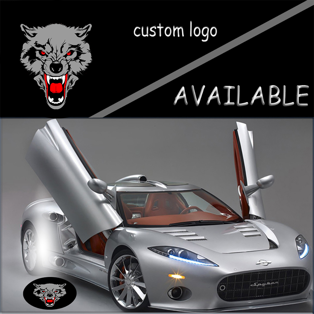 2X Ghost Shadow Car Open Door Logo Led Laser Wolf Welcome Projector Background Light Projection Lamp #2200# 2 x newest led car door light ghost shadow light welcome laser projector logo for fiat panda doblo ducato bravo stilo 500 punto