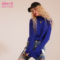 ELF SACK Solid New Women Winter Ruffle Collar High Sweater Womens Crown Embroidery Metal Color Yarn
