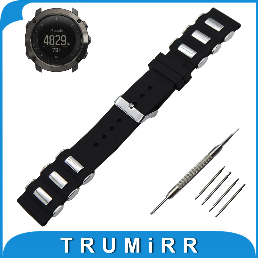 24mm Silicone Rubber Watch Band + Tool for Suunto TRAVERSE Watchband Stainless Steel Pin Buckle Strap Wrist Belt Bracelet Black luxury designer handbags famous brand split leather woman bags personality joker lady messenger bags women s shoulder bag m461