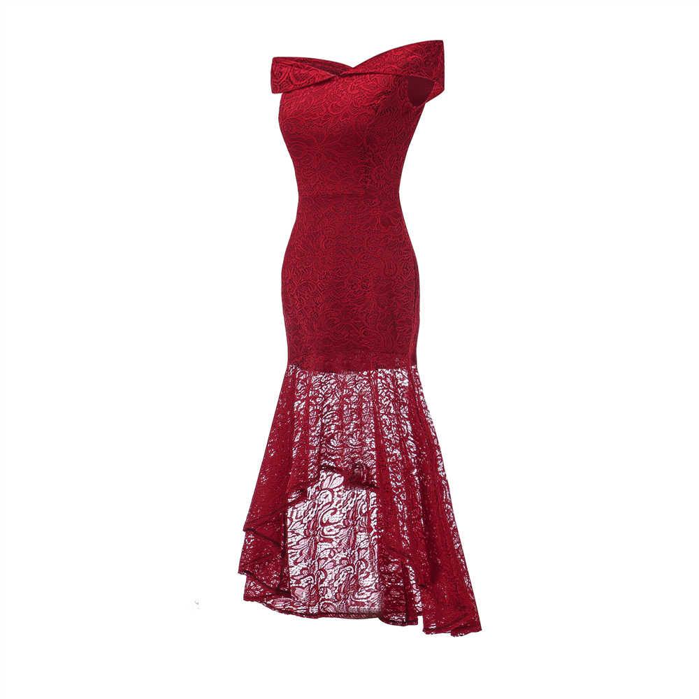 5a94ba86dda13 Women Formal Lace asymmetrical Long Dress 2019 Fashion Off Shoulder Elegant  vestido Wedding Bridesmaids Slim Party Maxi Dresses