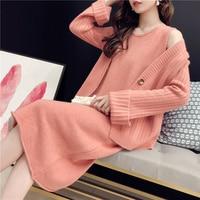 HAMALIEL New Arrival Fall Winter Suits Orange Knitting Single Breasted Loose Cardigan + Sleeveless Midi Split Women Skirt Suits