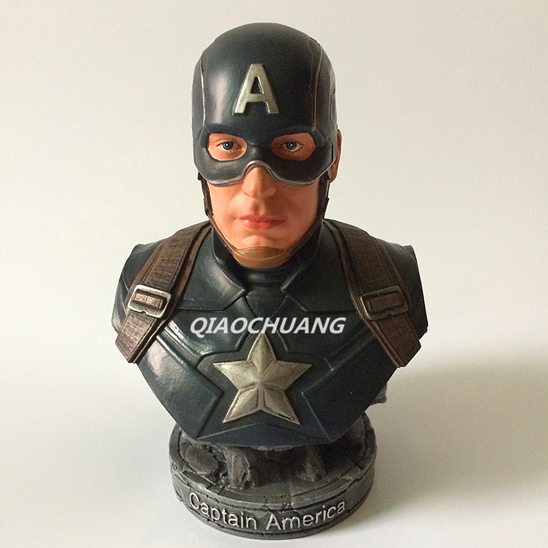Statue Avengers Captain America Bust Superhero Steve Rogers Half-Length Photo Or Portrait Resin Head Portrait Figure Model Toy statue avengers captain america 3 civil war iron man tony stark 1 2 bust mk33 half length photo or portrait with led light w216