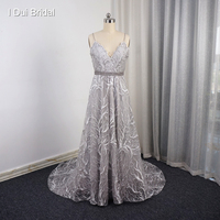 A Line Lace Smoke Grey Evening Dress Spaghetti Strap Pearl Belt