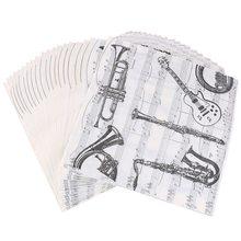 20 шт./лот, домашний музыкальный инструмент, настольные салфетки, подстаканник, черный, креативные, вечерние, для ужина, бумажные салфетки, украшения