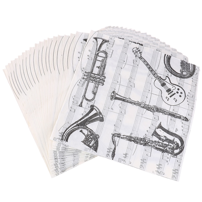 20pcs/lot Home Musical Instrument Table Napkins Cup Mat Black Creative Party Dinner Paper Tissue Decoration Wholesale