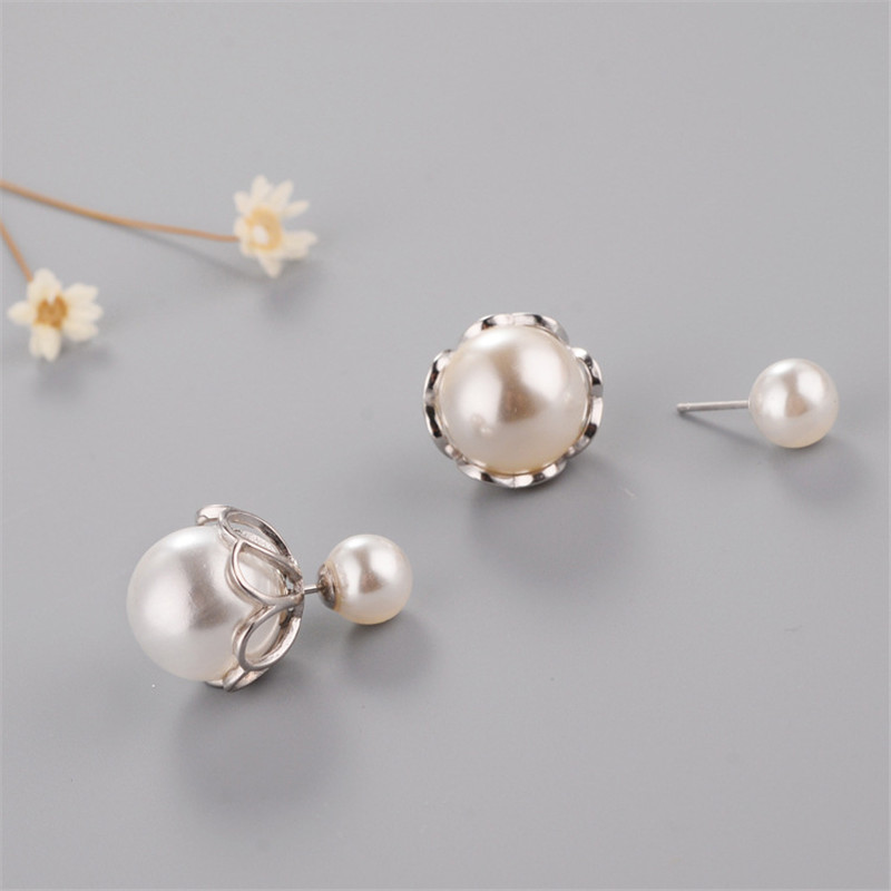 925 sterling silver Stud earrings Temperament double pearl Women 39 s fashion jewelry wholesale in Stud Earrings from Jewelry amp Accessories