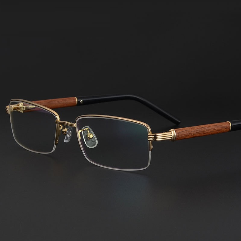 Vazrobe Wood Gold Glasses Frame Men luxury brand Wooden Eyeglasses for Male Myopia/diopter Prescription optical lens men's half