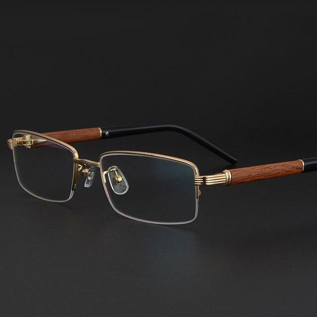 4cb08df211 Vazrobe Wood Gold Glasses Frame Men luxury brand Wooden Eyeglasses for Male  Myopia diopter Prescription optical lens men s half