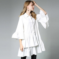 New 2017 Spring Autumn Women Flare Sleeves Ruffled Shirt Dress Turn Down Collar Loose Fit Plus