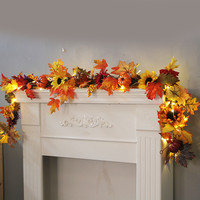 1.8M LED Lighted Fall Autumn Pumpkin Maple Leaves Garland Festival Party Decor
