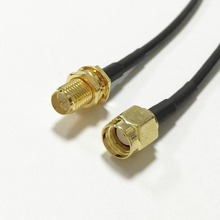 WIFI router cable RP-SMA Female Jack nut To RP-SMA Male Plug RG174 30cm/50cm/100cm Wholesale Fast Ship(China)