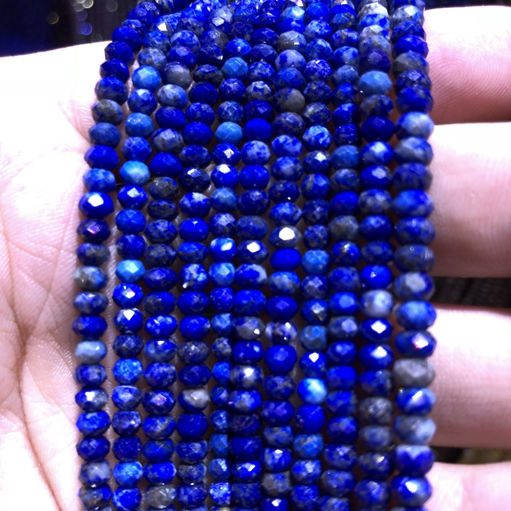 "Купить с кэшбэком 5 strings Lot Natural Blue Lapis Lazuli Facted Beads,Faceted Semi Gem Roundel Tiny Spacer Gem Beads,Size approx 3x4mm 15.5""/str"