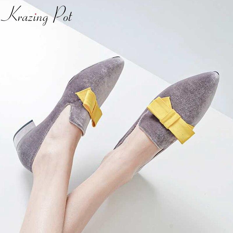 2018 hot sale krazing pot brand Autumn shoes velvet classical pointed toe thick low heels butterfly plus size women pumps L02