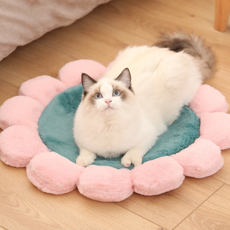 @HE Pet Mats Round Flower Design Coral Fleece Soft Puppy Cushion Sleeping Mat Breathable Blanket Dog Cat Bed Plush Carpet