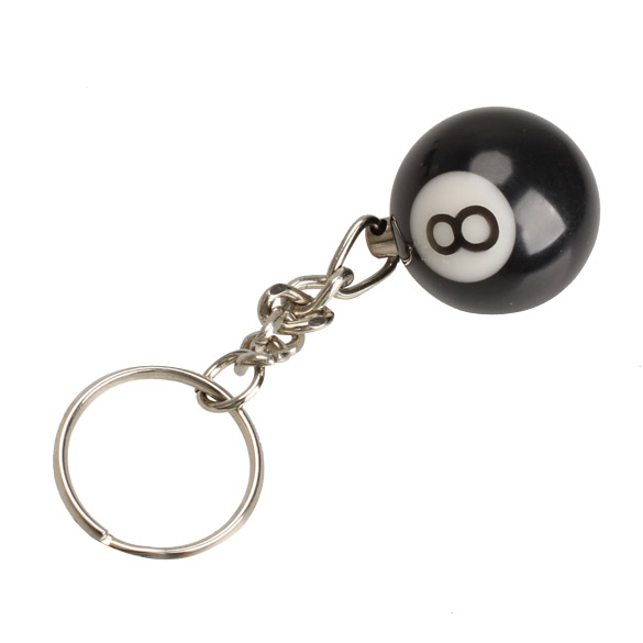 2pcs Lucky NO.8 Billiard Pool Keychain Snooker Table Ball Key Ring Gift M901