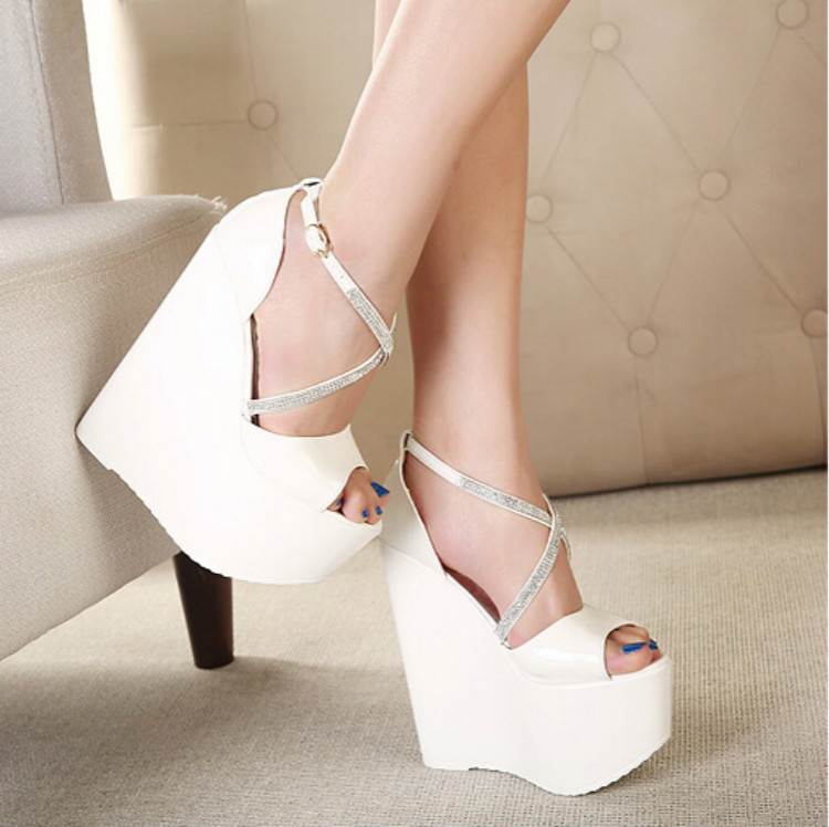Summer Fashion Cross Rhinestone Patent leather buckle 16cm ultra-high wedges Thick crust fish head women sandals cadmium from earth crust to fish tissues