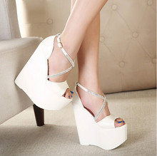 Summer Fashion Cross Rhinestone Patent leather buckle 16cm ultra-high wedges Thick crust fish head women sandals
