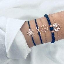 5 PCS/Set Boho Hollowed out FLOWER Map black Bead Bracelets Set For Women Bohemia Chain Bracelet Jewelry DropShipping