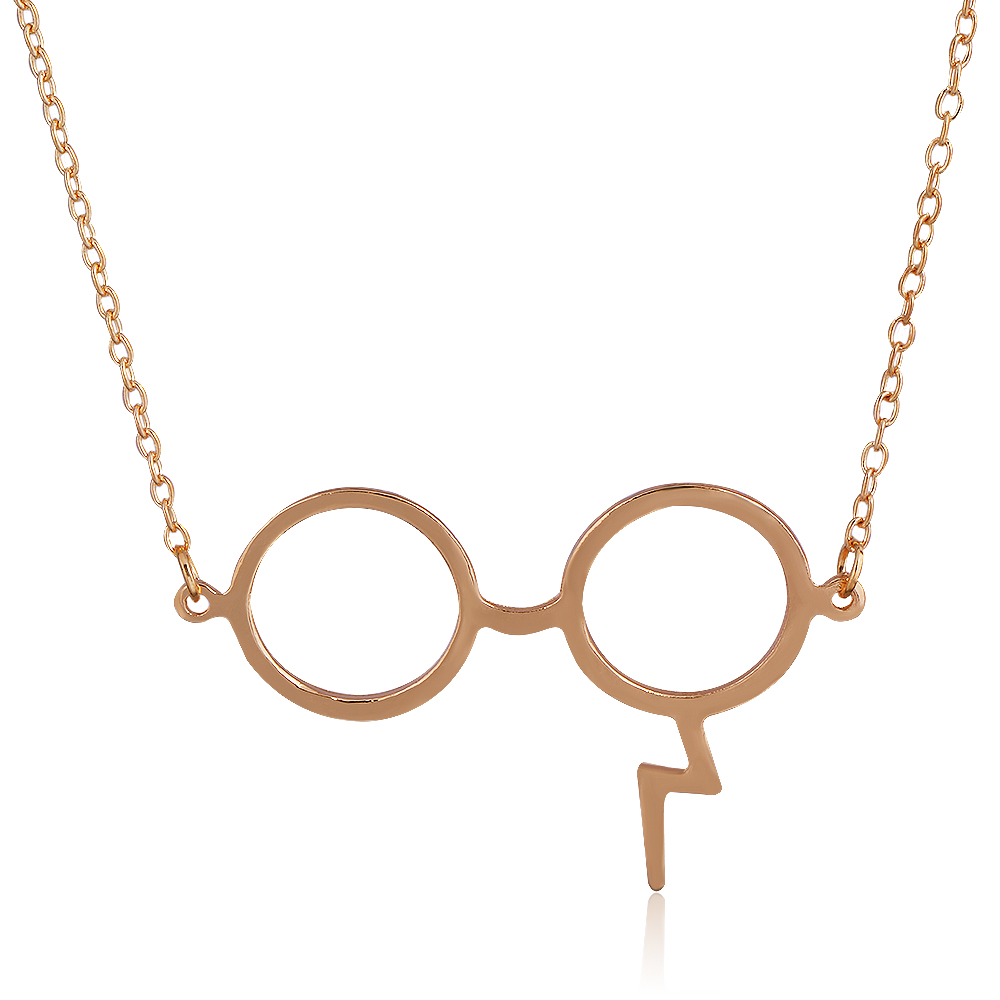 QIYIGE Classic Movie Lightning Scar Glasses Necklaces for Women Potter Z Scar Magic Pendants Movie Gifts For Fans