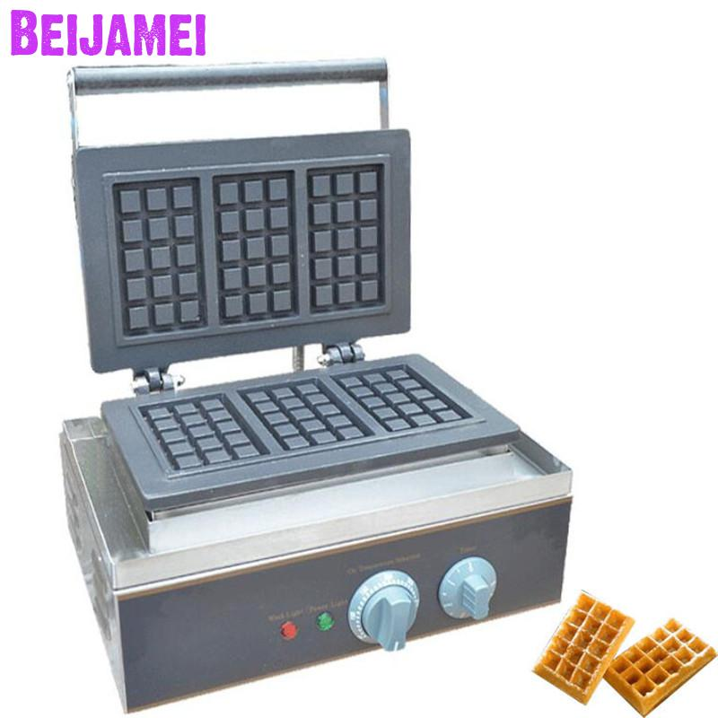 BEIJAMEI best selling electric industrial small waffle machines commercial square electric waffle making on sale