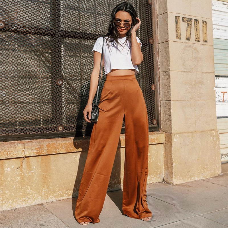 Wide     Leg     Pants   Women High Waist Causal Loose Female Elegant Tide Satin   Pants   Korean Fashion Flare   Pant   Sexy Floor Long Trousers